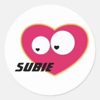 Subie Love Round Sticker