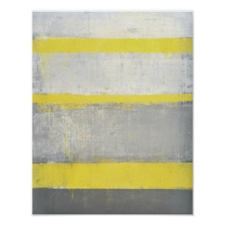 'Subjected' Grey and Yellow Abstract Art Poster