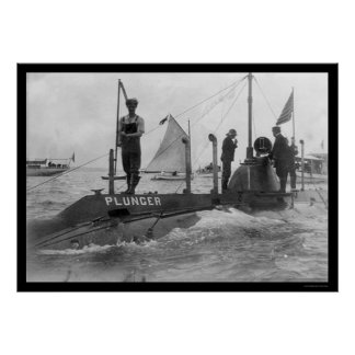 Submarine and Sailboat 1905 Poster