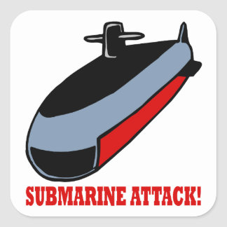Submarine Attack Square Sticker
