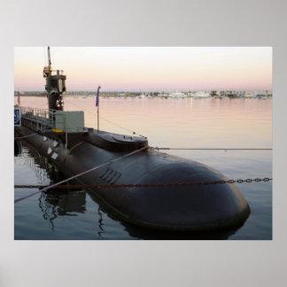 Submarine in Sunrise Poster