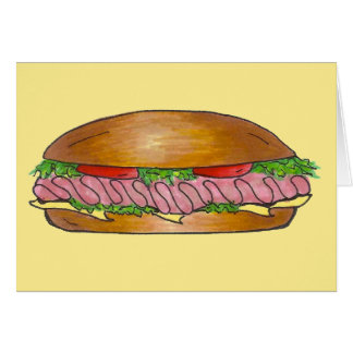 Submarine Sandwich Ham Cheese Hoagie Sub Grinder Card
