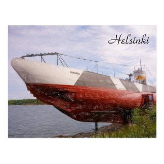 Submarine Vesikko in Helsinki, Finland postcard