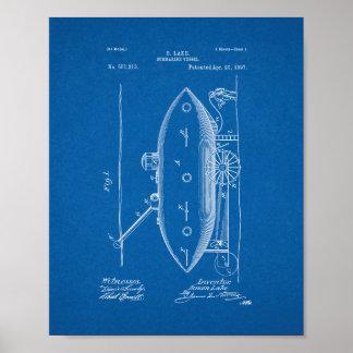 Submarine Vessel Patent - Blueprint Poster
