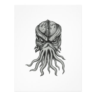 Subterranean Sea Monster Head Tattoo Letterhead