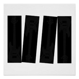 subtle Black on Black Bass Guitar Perfect Poster