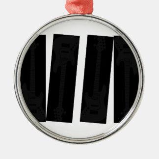 subtle Black on Black Bass Guitar Silver-Colored Round Ornament