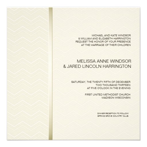 Subtle Chevron Ecru on Ivory Modern Affordable Custom Invitation