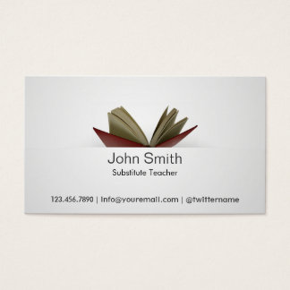 Subtle Open Book Substitute Teacher Business Card