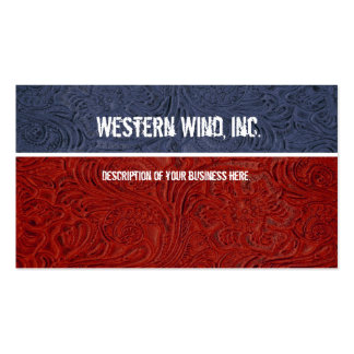 Subtle Patriotic Tooled Leather Business Card
