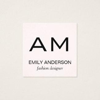 Subtle Pattern Pink with Monogram Square Business Card