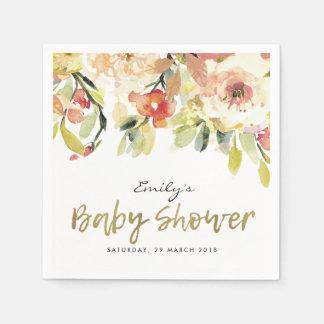 SUBTLE PEACH PINK WATERCOLOR FLORAL BABY SHOWER PAPER NAPKIN