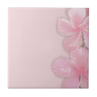Subtle Pink Hawaiian Hibiscus Flowers Tile