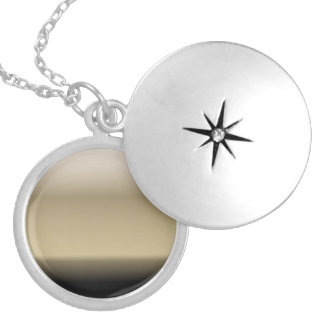 Subtle Shades of Beige to Black Ombre Gradient Locket Necklace
