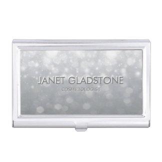 Subtle Silver Bekeh Glitter Lights Card Case