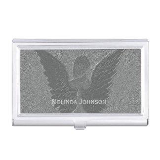 Subtle Silver Guardian Angel Card Case