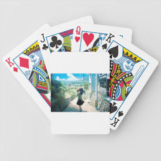 Suburban Girl Bicycle Playing Cards