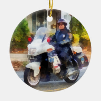 Suburban Motorcycle Cop Ceramic Ornament