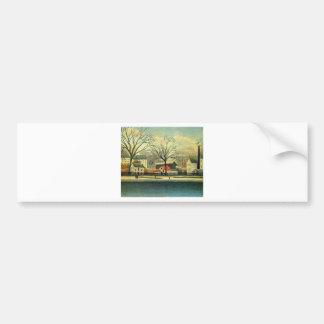 Suburban Scene by Henri Rousseau Bumper Sticker