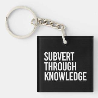 SUBVERT THROUGH KNOWLEDGE - - white - Keychain