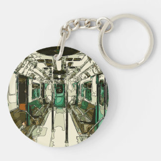 Subway Car Within the Metal Keychain