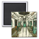 Subway Car Within the Metal Square Magnet