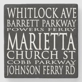 Subway Street Signs Marietta,Ga. Marble Stone Coas Stone Coaster