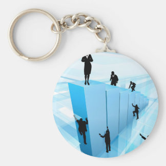 Success Concept Business People Silhouettes Keychain