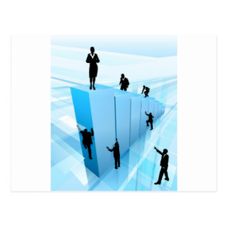 Success Concept Business People Silhouettes Postcard