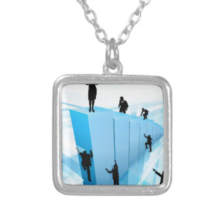 Success Concept Business People Silhouettes Silver Plated Necklace