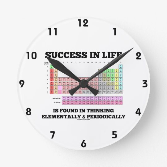 Success In Life Is Found In Thinking Elementally Round Clock