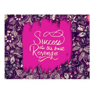 """Success is the Best Revenge"" Hand Drawn Flowers Postcard"