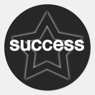 Success on a Star Background Round Sticker