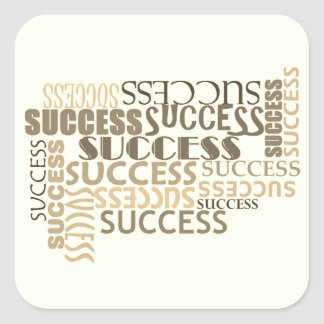 Success Typography Square Stickers