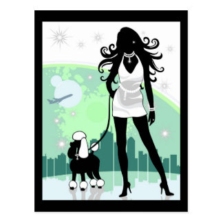 Successful Female in City Walking Poodle Postcard