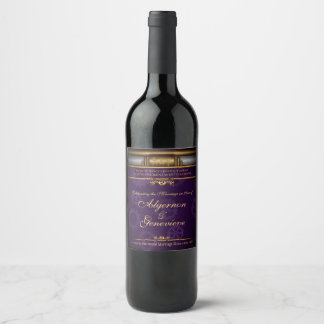 Successful Marriage Elixir, brass and royal purple Wine Label