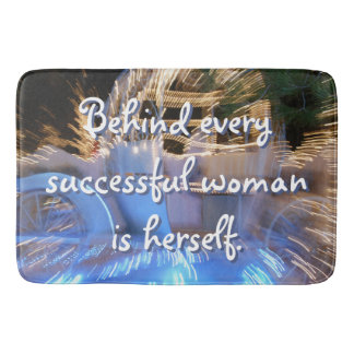 """""""Successful Woman"""" Quote Sparkly Gold Coach Photo Bath Mat"""