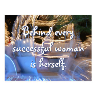 """Successful woman"" quote sparkly gold coach photo Postcard"