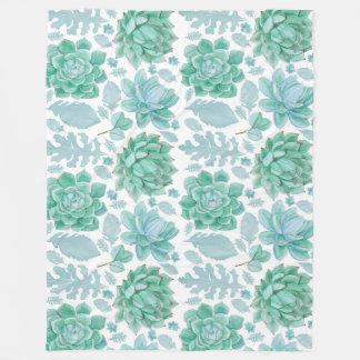 Succulent accent decor, nature theme decorating fleece blanket