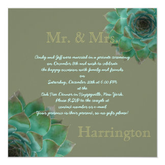 Succulent After the Honeymoon Reception Party Card