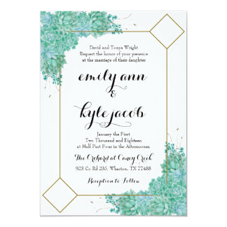 Succulent and Gold Wedding Invitiation Card