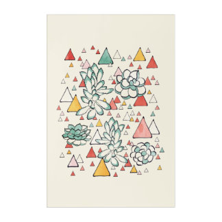 Succulent and triangles Acrylic Wall Art