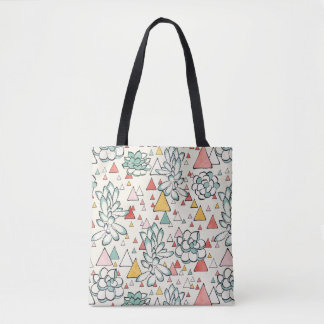Succulent and triangles bag