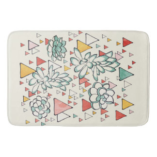 Succulent and triangles Custom Large Bath Mat