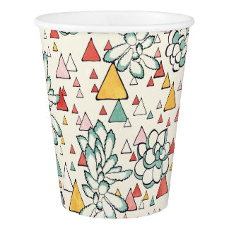 Succulent and triangles Custom Paper Cup