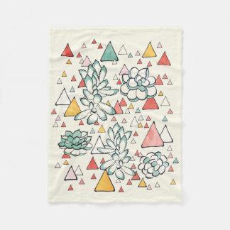 Succulent and triangles Fleece Blanket