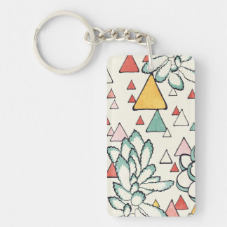 Succulent and triangles Keychain