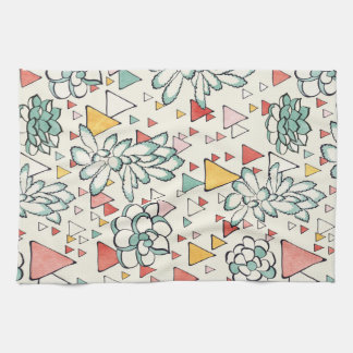 Succulent and triangles Kitchen Towel