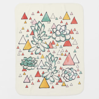 Succulent and triangles pattern baby blanket