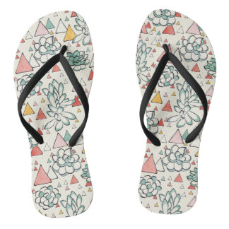 Succulent and triangles pattern flip flops